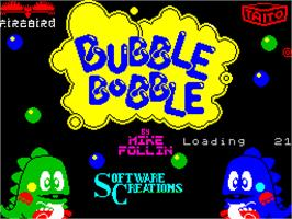Title screen of Bubble Bobble on the Sinclair ZX Spectrum.