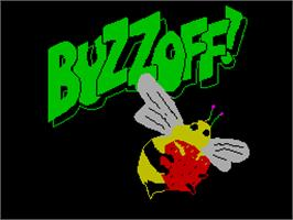 Title screen of Buzz Off! on the Sinclair ZX Spectrum.