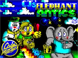 Title screen of CJ's Elephant Antics on the Sinclair ZX Spectrum.