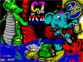 Title screen of CJ In the USA on the Sinclair ZX Spectrum.