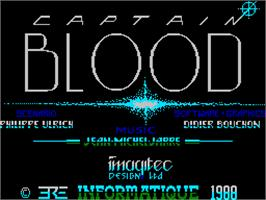 Title screen of Captain Blood on the Sinclair ZX Spectrum.