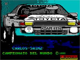 Title screen of Carlos Sainz on the Sinclair ZX Spectrum.