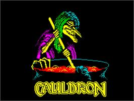 Title screen of Cauldron on the Sinclair ZX Spectrum.