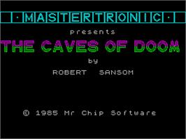 Title screen of Caves of Doom on the Sinclair ZX Spectrum.