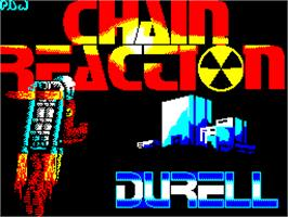 Title screen of Chain Reaction on the Sinclair ZX Spectrum.