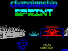 Title screen of Championship Sprint on the Sinclair ZX Spectrum.