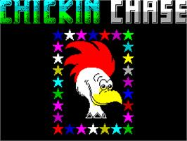 Title screen of Chickin Chase on the Sinclair ZX Spectrum.