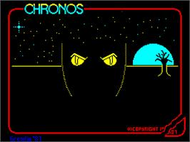 Title screen of Chronos: A Tapestry of Time on the Sinclair ZX Spectrum.