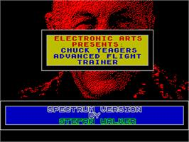 Title screen of Chuck Yeager's Advanced Flight Trainer on the Sinclair ZX Spectrum.