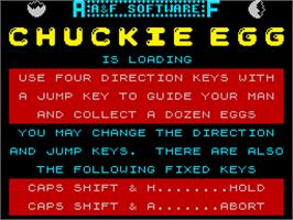 Title screen of Chuckie Egg on the Sinclair ZX Spectrum.