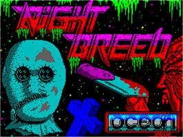 Title screen of Clive Barker's Nightbreed:  The Action Game on the Sinclair ZX Spectrum.