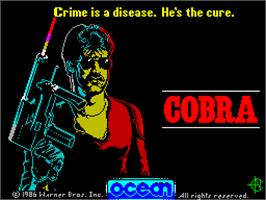 Title screen of Cobra on the Sinclair ZX Spectrum.