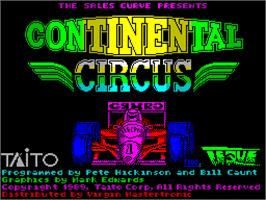 Title screen of Continental Circus on the Sinclair ZX Spectrum.