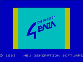 Title screen of Corridors of Genon on the Sinclair ZX Spectrum.
