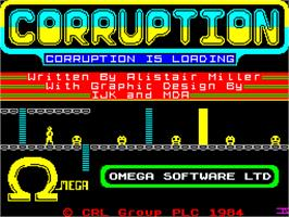 Title screen of Corruption on the Sinclair ZX Spectrum.
