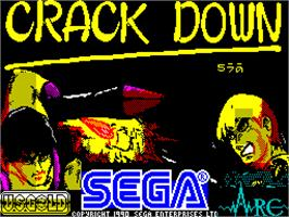 Title screen of Crack Down on the Sinclair ZX Spectrum.