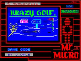 Title screen of Crazy Golf on the Sinclair ZX Spectrum.