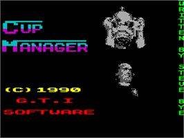 Title screen of Cup Manager on the Sinclair ZX Spectrum.