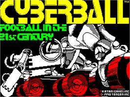 Title screen of Cyberball on the Sinclair ZX Spectrum.