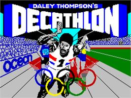 Title screen of Daley Thompson's Decathlon on the Sinclair ZX Spectrum.