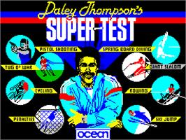 Title screen of Daley Thompson's Supertest on the Sinclair ZX Spectrum.