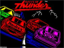 Title screen of Days of Thunder on the Sinclair ZX Spectrum.