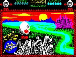 Title screen of Dizzy: Prince of the Yolkfolk on the Sinclair ZX Spectrum.