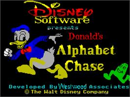 Title screen of Donald's Alphabet Chase on the Sinclair ZX Spectrum.