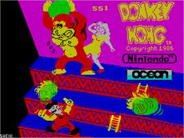 Title screen of Donkey Kong on the Sinclair ZX Spectrum.