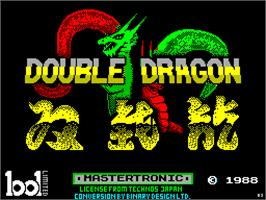 Title screen of Double Dragon on the Sinclair ZX Spectrum.