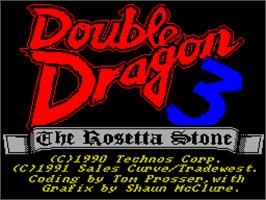 Title screen of Double Dragon III: The Sacred Stones on the Sinclair ZX Spectrum.
