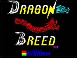 Title screen of Dragon Breed on the Sinclair ZX Spectrum.