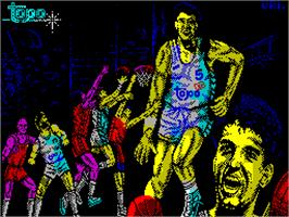 Title screen of Drazen Petrovic Basket on the Sinclair ZX Spectrum.
