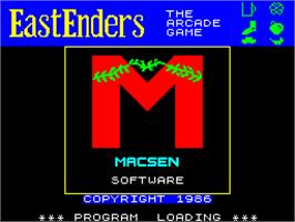 Title screen of EastEnders on the Sinclair ZX Spectrum.