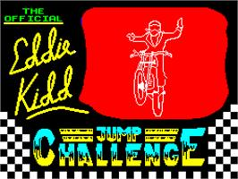Title screen of Eddie Kidd Jump Challenge on the Sinclair ZX Spectrum.