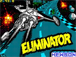 Title screen of Eliminator on the Sinclair ZX Spectrum.