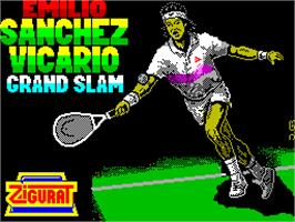 Title screen of Emilio Sanchez Vicario Grand Slam on the Sinclair ZX Spectrum.