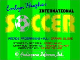 Title screen of Emlyn Hughes International Soccer on the Sinclair ZX Spectrum.