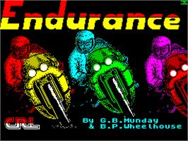 Title screen of Endurance on the Sinclair ZX Spectrum.
