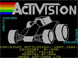 Title screen of Enduro on the Sinclair ZX Spectrum.