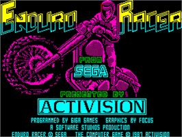 Title screen of Enduro Racer on the Sinclair ZX Spectrum.