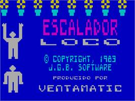 Title screen of Escalador Loco on the Sinclair ZX Spectrum.