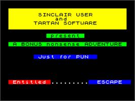 Title screen of Escape on the Sinclair ZX Spectrum.
