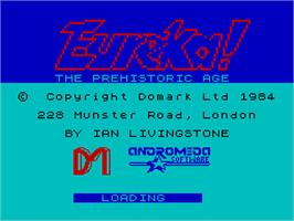 Title screen of Eureka! on the Sinclair ZX Spectrum.