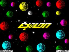 Title screen of Exolon on the Sinclair ZX Spectrum.