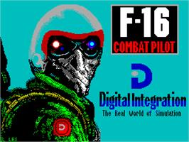 Title screen of F-16 Combat Pilot on the Sinclair ZX Spectrum.