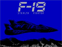 Title screen of F-19 Stealth Fighter on the Sinclair ZX Spectrum.