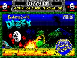 Title screen of Fantasy World Dizzy on the Sinclair ZX Spectrum.