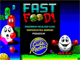 Title screen of Fast Food on the Sinclair ZX Spectrum.