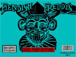 Title screen of Fiendish Freddy's Big Top O' Fun on the Sinclair ZX Spectrum.